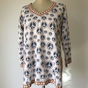 Gretchen Scott Designs Tunic Peace sign Sz Large